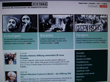 Website der Amadeu Antonio Stiftung