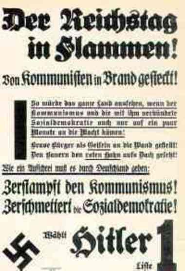 NSDAP-Flugblatt zum Reichstagsbrand 1933