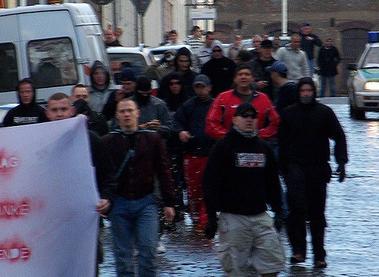 Ausschnitt rechte Demonstranten in Wurzen