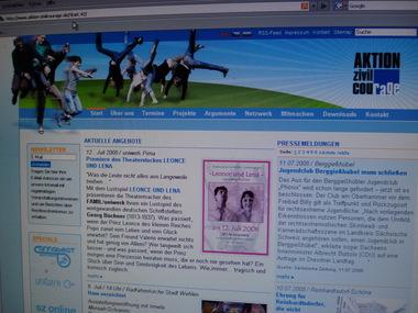 Website der Aktion Zivilcourage